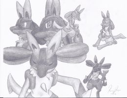 Lucario Sketches by Tohee