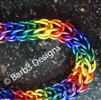 Rainbow Chainmaille Bracelet In Anodized Aluminum by Barbsdesigns