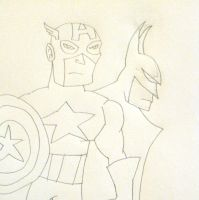 Captain America and Batman - Sketch by MetroXLR99