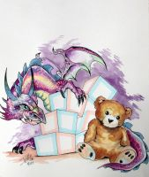 Dragons and Teddy Bears II Watercolor By DW Miller by ConceptsByMiller