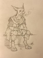 ''Daily'' sketch - Smoking Caracal by 0laffson