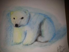Watercolor polar bear by workofaart