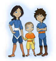 Aang and Katara's Children by corazongirl