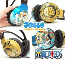 One Piece Luffy Headphone by PoppinCustomArt