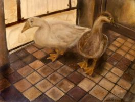 Backyard Geese - Oil on Canvas by masaad