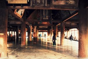 Wooden hall, Miyajima by Shreever