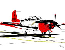 Beechcraft T-34 Turbo Mentor by bowdenja