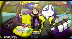 Rebeltaxi pan pizza in a cab by SpanglishHorse