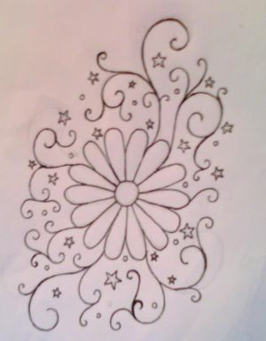 Flower and Swirl Tattoo Designs