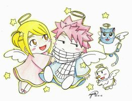 chibi angel natsu and lucy by esbelle