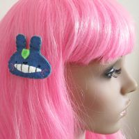 Totoro hair clip by hellohappycrafts