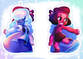 Ruby and Sapphire Charm by Qesque