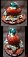 Dragon Hatchling Sculpture - Green Wing by Nightlyre