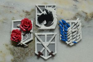 Shingeki no Kyojin/ Attack on titan emblems by Nightingate