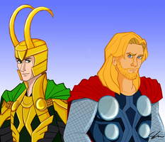 Disney Princes - Thor and Loki by SuppieChan