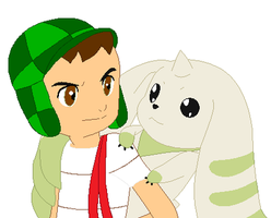 El Chavo with Terriermon by SuperMarcosLucky96