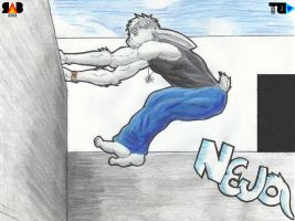Rabbit Parkour [Art-Trade] by Ray-Akim-Blau