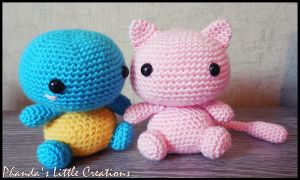 Squirtle and Mew amigurumi by FlyNnBasS