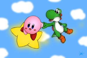 Kirby and Yoshi by Veni-Mortem