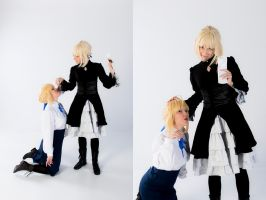 Saber and Alter 7 - A slave for food! by simakai