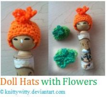 Doll Hats with Flowers by knittywitty