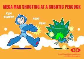 Mega Man Shooting at a Peacock by DoNotDelete