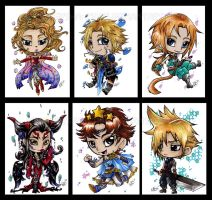 A6 FF Dissidia art cards by KeyshaKitty