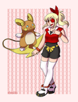 Pkmn OC- Brenda and Raichu by Quarbie