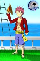 Natsu Dragneel as Monkey D. Luffy - No.10 by Ghensling