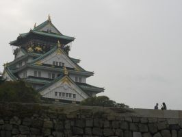 Osaka Temple with Small People by blindbutblink
