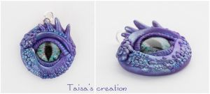 Eye of Violet-Blue Dragon Pendant by Taisa-Winged