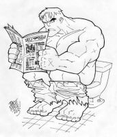 Puny Toilet No Match For Hulk by Maukingbird