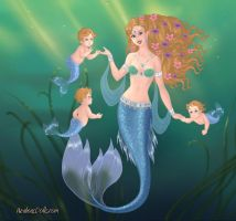 Mer-Mommy and Triplets by LadyIlona1984