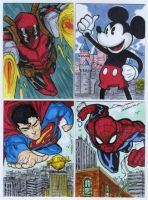 Four sketch card commission by mdavidct