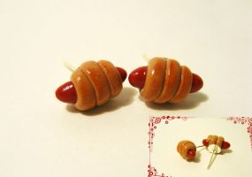 Pigs in a Blanket Earrings by mAd-ArIsToCrAt