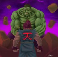 Hulk vs akuma by waklo99