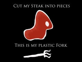 Cut my steak into pieces by laracoa