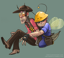 Engiebee and sniper mantis 4eva by Owlys
