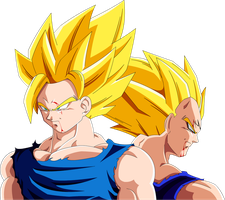Goku and Majin Vegeta (Redrawn) by Majin-Ryan