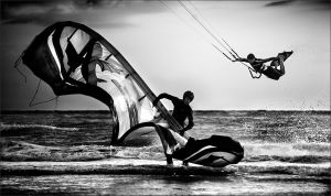 Kite Surf BW by plo0m