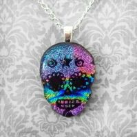 Rainbow Day of the Dead Skull by HoneyCatJewelry
