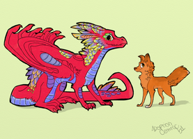 Adoptable dragon and dog by HappyDucklings