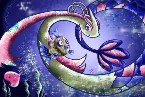 Feebas and Milotic by MaySunders