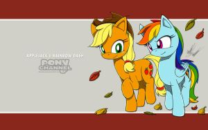 Channel Sketch: Applejack and Rainbow Dash by Fuzon-S