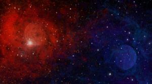 red blue space background / wallpaper by GoldCat742
