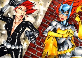 Batgirl vs Black Widow ACEO by wheels9696