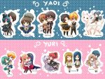 -- Chibi Yaoi and yuri couples keychain set -- by Kurama-chan