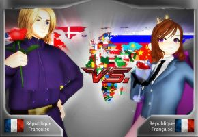 [MMDxAPH] - France vs Nyo!France by Hebigami-Okami-77