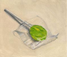 Tiny Painting 8: Green Sucker by friendlyearthworm