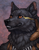 Dark Fur Bright Smile by Shadow-Wolf